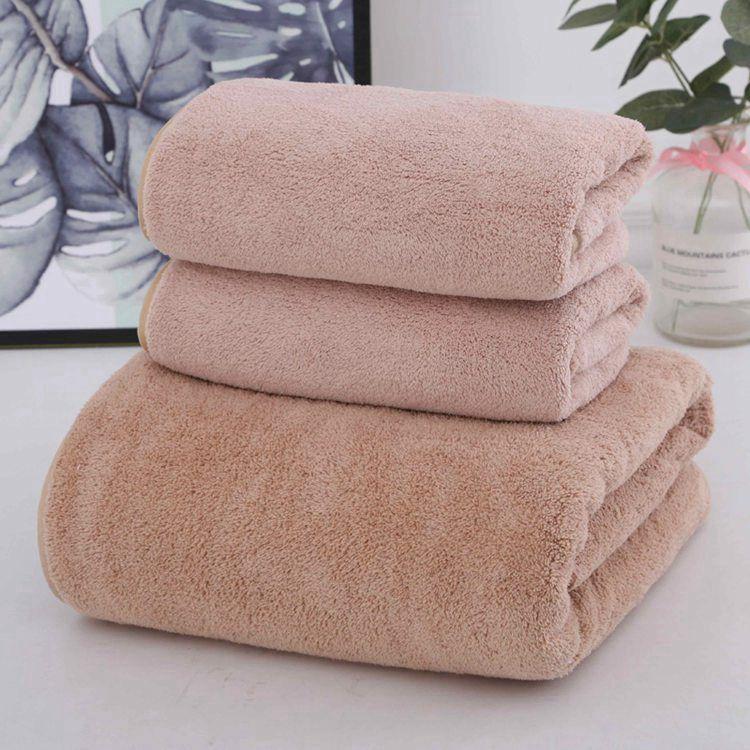 毛巾浴巾家用 吸水速干不掉毛珊瑚绒三件套 浴巾*1+毛巾*2(颜色随机)